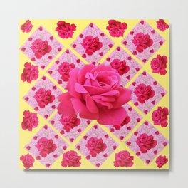FUCHSIA PINK ROSE PATTERNS & YELLOW GARDEN ART Metal Print