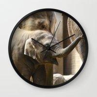 baby elephant Wall Clocks featuring Baby Elephant by Päivi Vikström