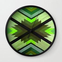 Navaho Vibes Geometric Pattern - Black Olive Lime Wall Clock