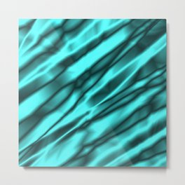 A chaotic cluster of light blue bodies on a light background. Metal Print