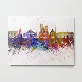 Amiens skyline in watercolor background Metal Print
