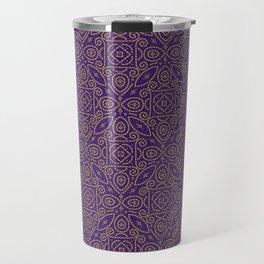 Purple and Gold Bandhani Bandhej Indian Sari Print Travel Mug