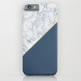 Elegant mauve blue white marble faux gold geometric iPhone Case