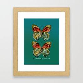 Himalayan Fritillary Butterfly - Emerald Green & Orange Red Framed Art Print