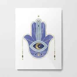 Hamsa Hand in Blue Metal Print