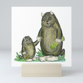 Mini and Big Monster - Friends, colored Mini Art Print