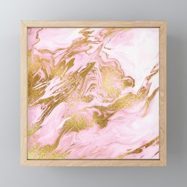 Rose Gold Mermaid Marble Framed Mini Art Print