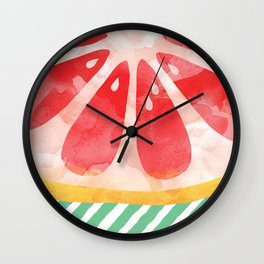 Red Grapefruit Abstract Wall Clock