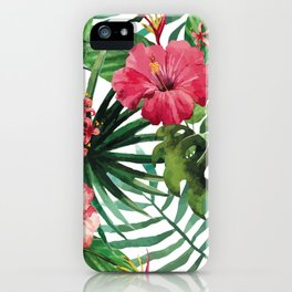 Tropical- Hibiscus and fern iPhone Case