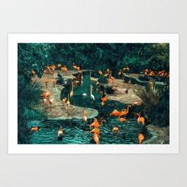 Flamingo Creek #flamingo #tropical #illustration Art Print