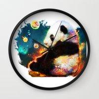 pandas Wall Clocks featuring pandas dream by ururuty