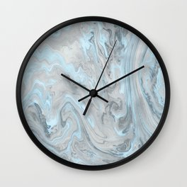 Ice Blue and Gray Marble Wall Clock