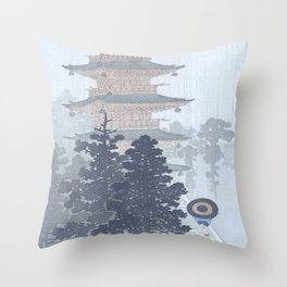 Man with Umbrella And Japanese Pagoda - Vintage Japanese Woodblock Print Art By Ohara Koson Throw Pillow
