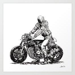 Motorcycle Rider 11 RAW Art Print