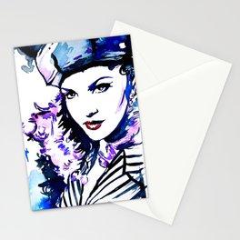 Madame / Watercolor portrait fashion illustration beautiful woman vogue cover vintage pop art Stationery Cards