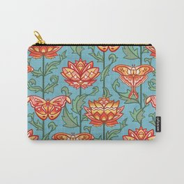 Mid-Century Moth Damask - Spring Morning Carry-All Pouch