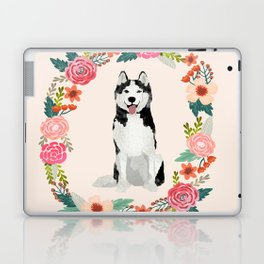 husky floral wreath spring dog breed pet portrait gifts Laptop & iPad Skin