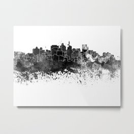 Durban skyline in black watercolor Metal Print