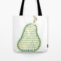 pear Tote Bags featuring Pear by Lisa Braun