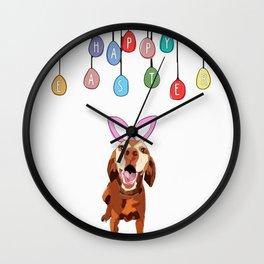 Happy Easter Vizsla Bunny Wall Clock
