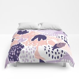 Pastel Cut-Out Abstract Collage Comforters