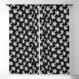 Dumbbellicious inverted / Black and white dumbbell pattern Blackout Curtain