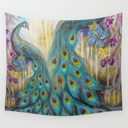 Jeweled Peacock Wall Tapestry