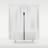 magritte Shower Curtains featuring Up The Stair by Picomodi
