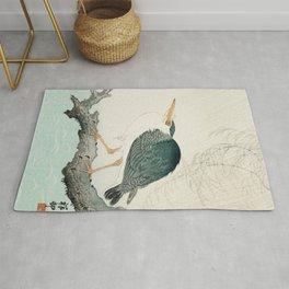 Ohara Koson, Blue Heron On Tree - Japanese Vintage Woodblock Print Rug