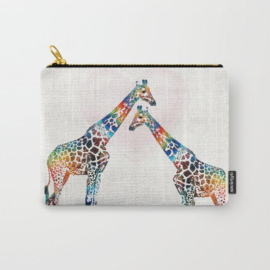 Colorful Giraffe Art - I've Got Your Back - By Sharon Cummings Carry-All Pouch
