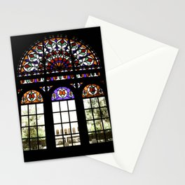 Colorful Rainbow Stain Glass Persian Window Art Stationery Cards