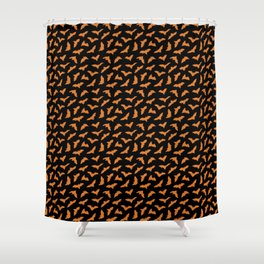 Bats in Orange & Black // Halloween Collection Shower Curtain