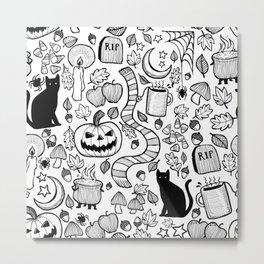 October Pattern- Black & White Metal Print