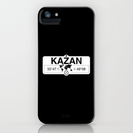Kazan Tatarstan with World Map GPS Coordinates and Compass iPhone Case