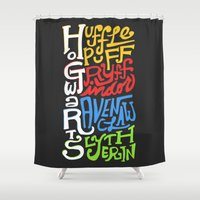 hufflepuff Shower Curtains featuring Hogwarts Houses by oddhour
