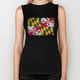 State flag of Flag of Maryland, Vintage retro style Biker Tank