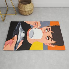 Lovely girl drink coffee from the UFO - retro movies poster illustration Rug