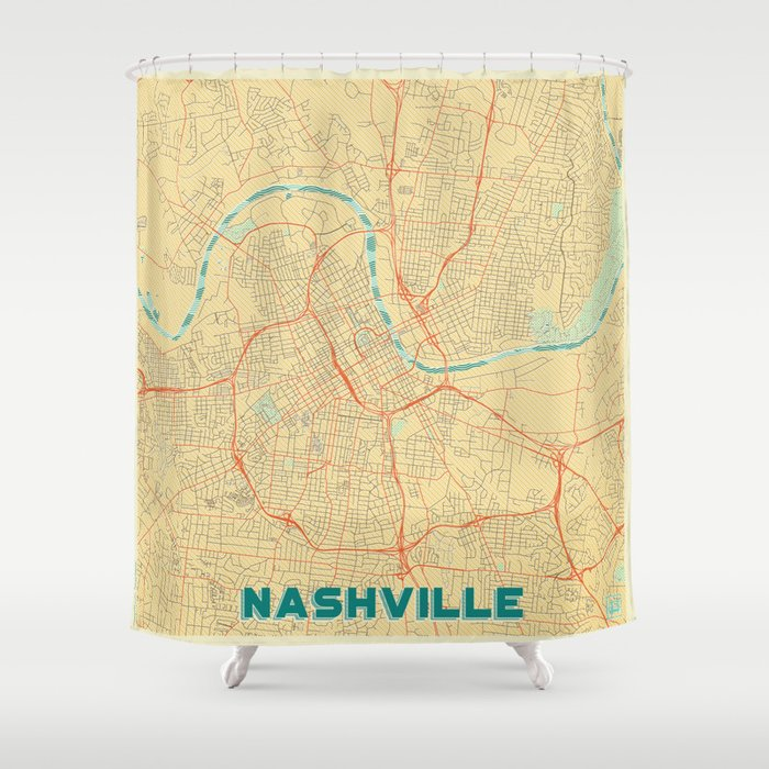 Nashville Map Retro Shower Curtain