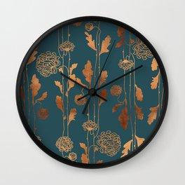 Art Deco Copper Flowers  Wall Clock