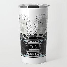 Hedgehogs on Boombox Travel Mug