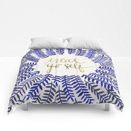 Treat Yo Self – Gold & Navy Comforters