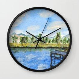 wooden bridge on a lake Wall Clock