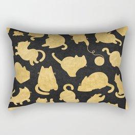 Gold on Black Kitty Pattern Rectangular Pillow