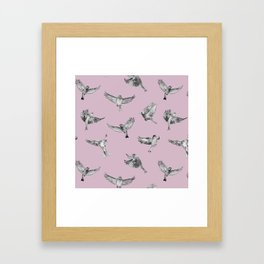 Birds in Flight in Pink and Grey Framed Art Print