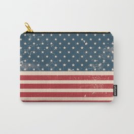 Vintage Distressed American Flag Carry-All Pouch