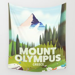 Mount Olympus, Greece, Travel poster Wall Tapestry