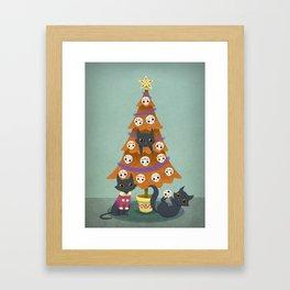 Meowy christmas sugar skulls Framed Art Print