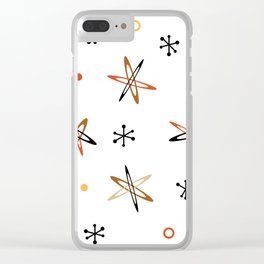 Atomic Era Space Age Orange Brown White Clear iPhone Case