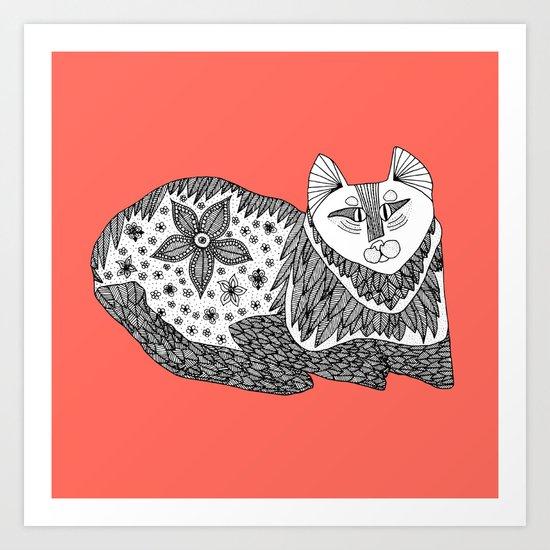 peach cat Art Print