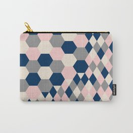 Honeycomb Blush and Grey Carry-All Pouch